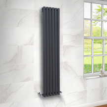 Langham 1600 x 345mm Single Round Panel Anthracite Vertical Radiator