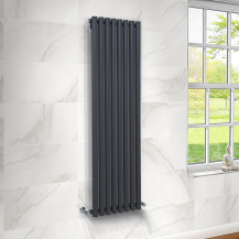 Langham 1600 x 465mm Single Round Panel Anthracite Vertical Radiator