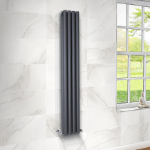Langham 1600 x 225mm Double Round Panel Anthracite Vertical Radiator