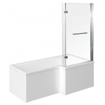 1675 x 850 Right Hand L-Shaped Shower Bath With 6mm Hinged Screen