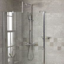 Aqualine™ Square Riser Slide Shower Rail Kit with Bracing Frame & Valve
