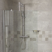 Aqualine™ Round Riser Slide Shower Rail Kit with Bracing Frame & Valve