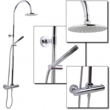Cirk Premium Riser Slide Shower Rail Kit with Dual Valve