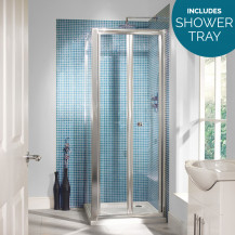 Aquafloe™ 6mm 760 x 760  Bi Fold Door Shower Enclosure with Shower Tray