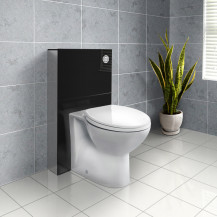 Black Deluxe WC Unit and Concealed Cistern with Tampa Back to Wall Toilet