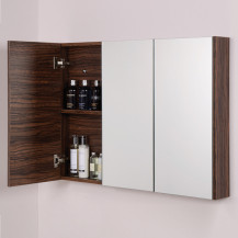 Aspen™ 3 Door Walnut Mirror Cabinet 650(H) 900(W) 100(P)