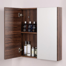 Aspen™ 2 Door Walnut Mirror Cabinet 650(H) 600(W) 100(P)