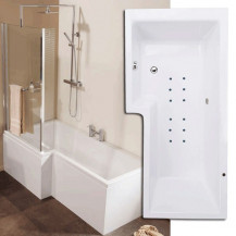 Airspa 1670 x 850 Left Hand L-Shaped Shower Bath With Screen & Panel
