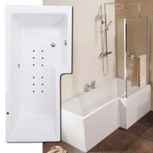 Airspa 1670 x 850 Right Hand L-Shaped Shower Bath With Screen & Panel