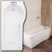 1500 x 850 Right Hand Whirlpool Shower Bath with 11 Jets