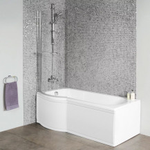 Dee 1600 x 850 Left Hand P-Shaped Shower Bath with Curved 6mm Screen and Front Panel