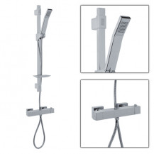 Quadro Slide Shower Rail Kit with Square Valve