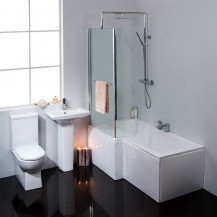 Salou 1675 Left Hand Shower Bath Suite With Taps