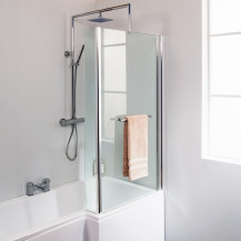 L-Shaped Fixed Bath Shower Screen with Towel Rail