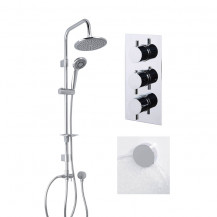 Dualex Riser Slide Shower Rail Kit with S9 Triple Valve, Wall Outlet, Filler & Overflow