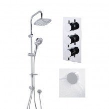 Vision Riser Slide Shower Rail Kit with S9 Triple Valve, Wall Outlet, Filler & Overflow