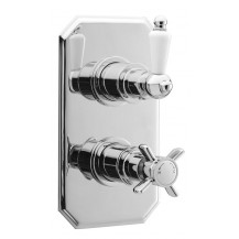 Premier Edwardian Twin Thermostatic Shower Valve with Rectangular Plate