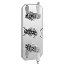 Premier Edwardian Triple Thermostatic Shower Valve with Rectangular Plate