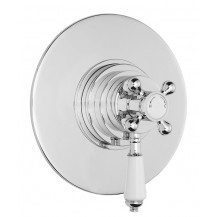 Premier Victorian Dual Thermostatic Shower Valve with Round Plate