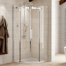Aquafloe™ Elite II 8mm 900 x 900 Easy Clean Frameless Sliding Quadrant Enclosure with Shower Tray