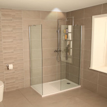 AquaLine 8mm 1400 Walk In Shower Enclosure with Tray