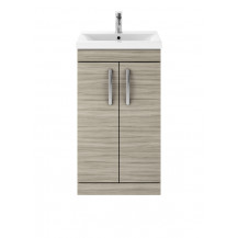 Premier Athena Driftwood 500mm Floor Standing 2-Door Vanity With Mid-Edge Basin
