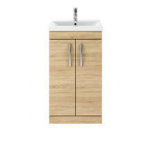 Premier Athena Natural Oak 500mm Floor Standing 2-Door Vanity With Mid-Edge Basin