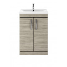 Premier Athena Driftwood 600mm Floor Standing 2-Door Vanity With Mid-Edge Basin