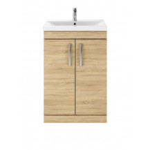 Premier Athena Natural Oak 600mm Floor Standing 2-Door Vanity With Mid-Edge Basin