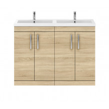 Premier Athena Natural Oak 1200mm Floor Standing Door Cabinet & Double Basin