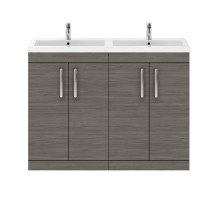 Premier Athena Grey Avola 1200mm Floor Standing Door Cabinet & Double Basin