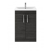 Premier Athena Hacienda Black 600mm Floor Standing 2-Door Vanity With Minimalist Basin