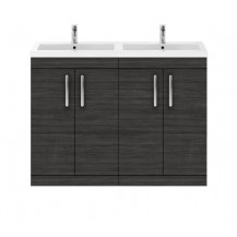 Premier Athena Hacienda Black 1200mm Floor Standing Door Cabinet & Double Basin