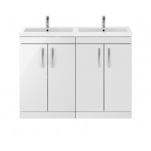 Premier Athena White Gloss 1200mm Floor Standing Door Cabinet & Double Basin