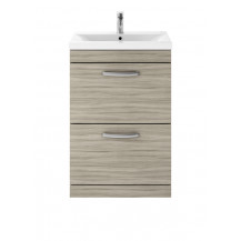 Premier Athena Driftwood 600mm Floor Standing 2-Drawer Vanity With Mid-Edge Basin