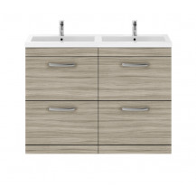 Premier Athena Driftwood 1200mm Floor Standing Four Drawer Vanity Unit