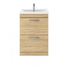 Premier Athena Natural Oak 600mm Floor Standing 2-Drawer Vanity With Minimalist Basin