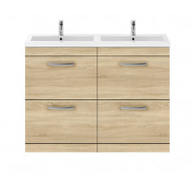 Premier Athena Natural Oak 1200mm Floor Standing Drawer Cabinet & Double Basin