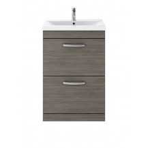 Premier Athena Grey Avola 600mm Floor Standing 2-Drawer Vanity With Minimalist Basin