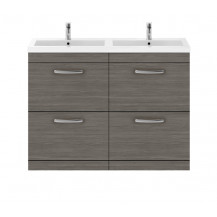 Premier Athena Grey Avola 1200mm Floor Standing Drawer Cabinet & Double Basin