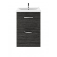 Premier Athena Hacienda Black 600mm Floor Standing 2-Drawer Vanity With Minimalist Basin