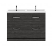 Premier Athena Hacienda Black 1200mm Floor Standing Drawer Cabinet & Double Basin
