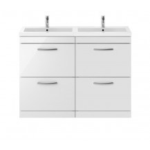 Premier Athena White Gloss 1200mm Floor Standing Drawer Cabinet & Double Basin