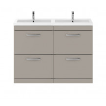 Premier Athena Stone Grey 1200mm Floor Standing Drawer Cabinet & Double Basin