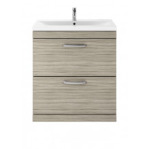 Premier Athena Driftwood 800 Floor Standing 2-Drawer Vanity With Mid-Edge Basin