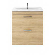 Premier Athena Natural Oak 800 Floor Standing 2-Drawer Vanity With Minimalist Basin