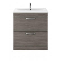 Premier Athena Grey Avola 800 Floor Standing 2-Drawer Vanity With Mid-Edge Basin
