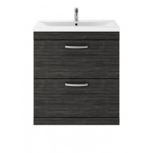 Premier Athena Hacienda Black 800 Floor Standing 2-Drawer Vanity With Minimalist Basin