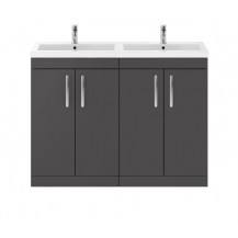 Premier Athena Gloss Grey 1200mm Floor Standing Double Door Vanity Unit