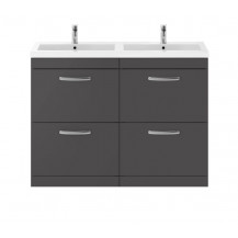 Premier Athena Gloss Grey 1200mm Floor Standing Four Drawer Vanity Unit